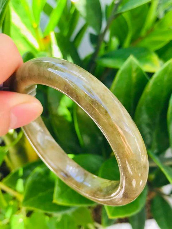 Vòng Ngọc Jadeite A Bản Oval Vàng Nâu Chính Hãng